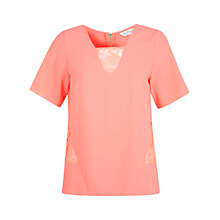 Buy Miss Selfridge Lace Insert T-Shirt, Pink Online at johnlewis.com