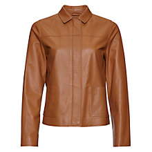 Buy Jaeger Boxy Leather Jacket, Caramel Online at johnlewis.com