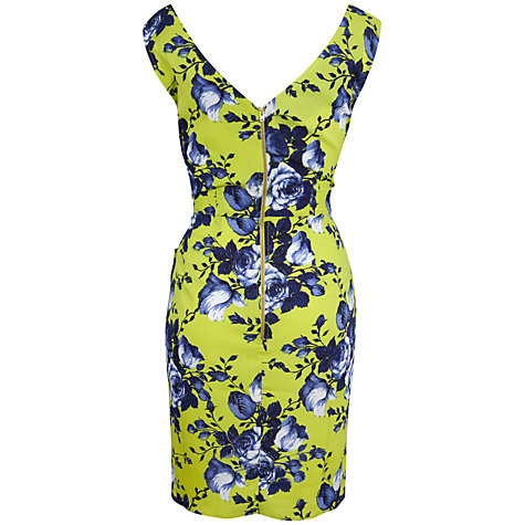 Buy Closet Rose Print Cross Over Dress, Lime Online at johnlewis.com