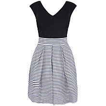 Buy Almari Stripe Taffeta Contrast Dress, Black and White Online at johnlewis.com