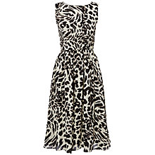 Buy Jaeger Tiger Print Sleeveless Dress, Black / White Online at johnlewis.com