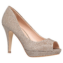 Buy Miss KG Georgia Heeled Peep Toe Court Shoes, Gold Online at johnlewis.com