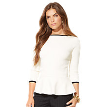 Buy Lauren Ralph Lauren Santisi Boatneck Top, Cream/Black Online at johnlewis.com