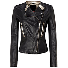 Buy Oui Leather Jacket, Dark Grey Online at johnlewis.com