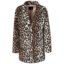 Buy Oui Faux Fur Leopard Coat, Camel Online at johnlewis.com