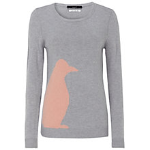 Buy Oui Contrast Penguin Knit Jumper, Grey/Rose Online at johnlewis.com