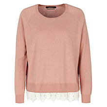 Buy Oui Contrast Hem Knit, Rosewood Online at johnlewis.com