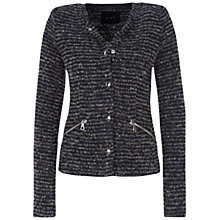 Buy Oui Stripe Cardigan, Dark Blue Grey/Silver Online at johnlewis.com