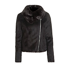 Buy Armani Jeans Faux Shearling Jacket, Black Online at johnlewis.com