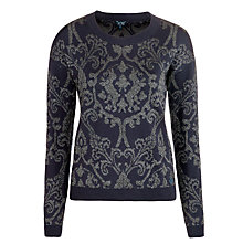 Buy Armani Jeans Sparkle Jacquard Jumper, Navy Online at johnlewis.com