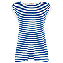 Buy Oasis Broderie Sleeve Stripe T-Shirt, Multi/Blue Online at johnlewis.com
