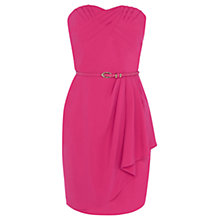 Buy Oasis Crepe Pleat Bandeau Dress, Bright Pink Online at johnlewis.com