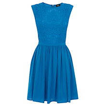Buy Oasis Scallop Lace Bodice Dress, Mid Blue Online at johnlewis.com
