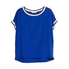 Buy Violeta by Mango Contrast Trim Blouse, Bright Blue Online at johnlewis.com