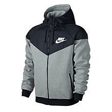 Buy Nike Windrunner Full Zip Hoodie, Dark Grey Heather/Black Online at johnlewis.com