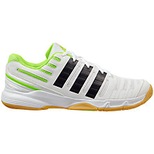Buy Adidas Essence Men's Indoor Court Shoes, White/Black/Green Online at johnlewis.com