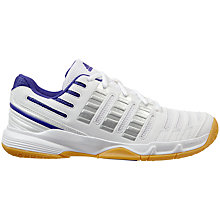 Buy Adidas Stabil Essence Women's Court Shoes, White/Grey Online at johnlewis.com