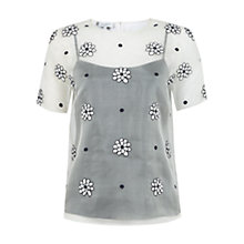 Buy Hobbs Invitation Daisy Spot Top, Ivory/Navy Online at johnlewis.com