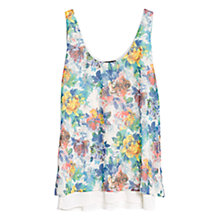 Buy Mango Floral Chiffon Top, Navy Online at johnlewis.com