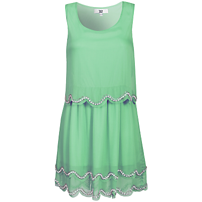 True Decadence Scallop Sequin Dress, Light Mint