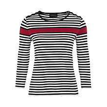 Buy Viyella Multi Stripe Jersey Top, Cherry Online at johnlewis.com