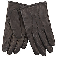 Buy Gant Leather Gloves, Dark Brown Online at johnlewis.com