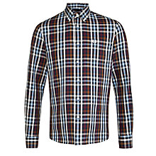 Buy Fred Perry Herringbone Check Long Sleeve Shirt, Carbon Blue Online at johnlewis.com