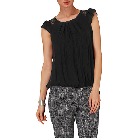 Buy Phase Eight Thelma Silk and Lace Blouse, Black Online at johnlewis.com