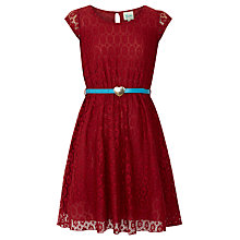 Buy Yumi Girl Lace Heart Belt Dress, Red Online at johnlewis.com