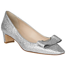 Buy L.K. Bennett Karol Glitter Leather Court Shoes, Silver Online at johnlewis.com