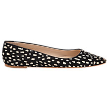 Buy Whistles Brigette Flat Point Leather Pumps, Black / White Online at johnlewis.com