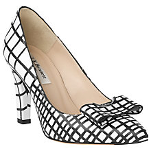 Buy L.K. Bennett Kareena Leather Court Shoes, Black/ White Online at johnlewis.com