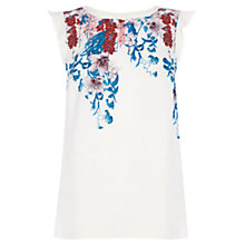Buy Oasis Ditsy Placement T-Shirt, White/Multi Online at johnlewis.com