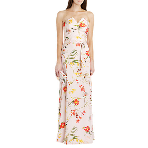 Buy Ted Baker Botanical Bloom Print Maxi Dress, Pale Pink Online at johnlewis.com