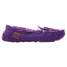 Buy Bedroom Athletics Victoria Harris Tweed Moccasin Slippers, Pink Online at johnlewis.com