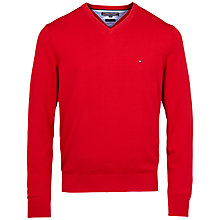 Buy Tommy Hilfiger Pacific V-Neck Cotton Jumper, Apple Red Online at johnlewis.com