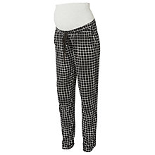 Buy Mamalicious Nelly Check Jersey Trousers, Black Online at johnlewis.com