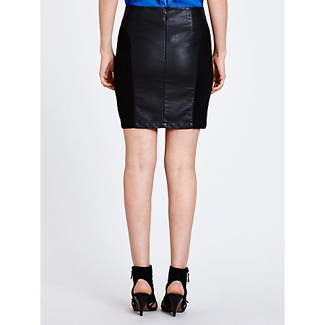 Buy Minimum Amya Faux Leather Skirt, Black Online at johnlewis.com