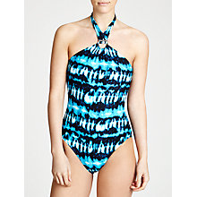 Buy MICHAEL Michael Kors Torino Tie Dye High Neck Swimsuit, Summer Blue Online at johnlewis.com