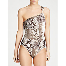 Buy MICHAEL Michael Kors Patchwork Snakeskin One Shoulder Maillot Swimsuit, Milk Chocolate Online at johnlewis.com