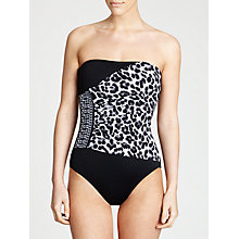 Buy MICHAEL Michael Kors Shirred Bandeau Maillot Swimsuit, Black Online at johnlewis.com
