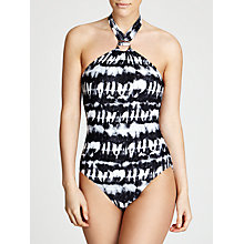 Buy MICHAEL Michael Kors Torino Tie Dye High Neck Swimsuit, Black Online at johnlewis.com