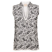 Buy East Chikkan Embroidered Top, White/Black Online at johnlewis.com