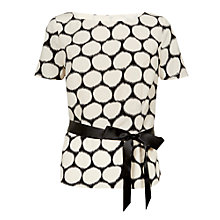 Buy Jacques Vert Satin Belt Spot Blouse, Multi/Cream Online at johnlewis.com