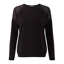 Buy Whistles Andi Mesh Insert Top, Black Online at johnlewis.com