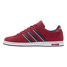 Buy Adidas Derby Leather Trainers, Red/Navy/White Online at johnlewis.com