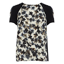 Buy Warehouse Palm Print Blocked Tee, Multi Online at johnlewis.com