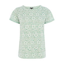 Buy Warehouse Printed Burnout Top, Mint Online at johnlewis.com