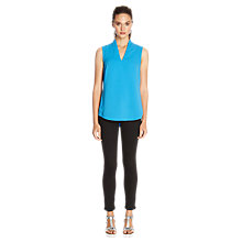 Buy Warehouse Funnel Neck Zip Back Shell Top, Turquoise Online at johnlewis.com