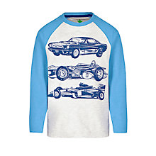 Buy John Lewis Boy Raglan Sports Car Jersey, Blue/Grey Online at johnlewis.com